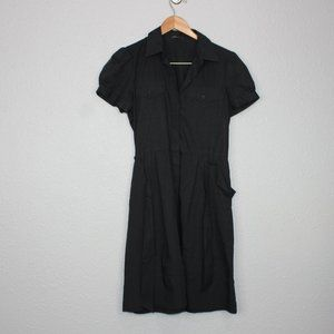 Theory Black Covered Button Down Mini Dress sz 10